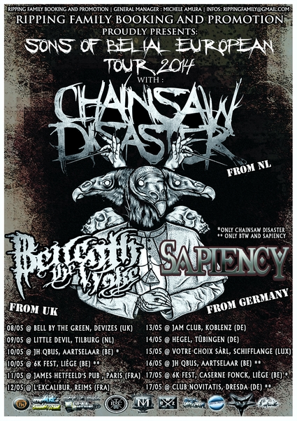 Sons of Belial EUROPEAN TOUR post